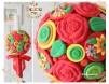 """Lumanari botez pentru fete cu tematica """"Gipsy"""" - decorata cu flori in nunate vii si fundita rosie"""