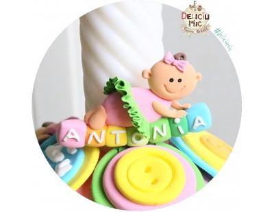 "Marturie de botez magnet ""Smiley Baby Girl"" fetita cu tutu verde personalizata cu numele"