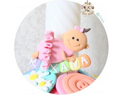 "Marturie de botez magnet ""Smiley Baby Girl"" fetita cu tutu roz personalizata cu numele"