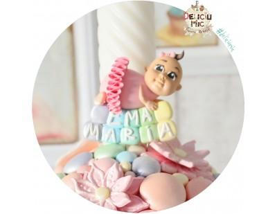"""Marturie de botez magnet """"Cute Baby Girl"""" fetita cu tutu roz personalizata cu numele"""
