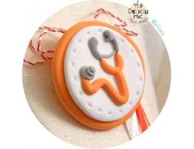 Martisor Brosa handmade Stetoscop portocaliu