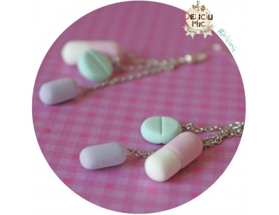 Cercei 3 pastile in nuante de lila, turcoaz roz si alb