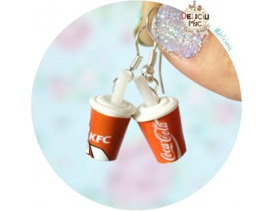 "Cercei pahare de suc ""Coca-Cola & KFC"""