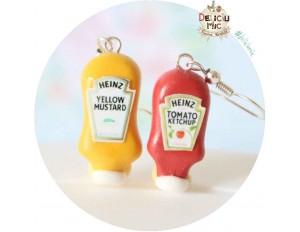 Cercei sticla de sos Ketchup & Mustar