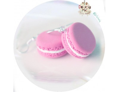 Cercei macarons roz