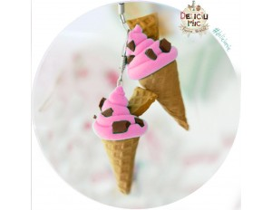 "Cercei handmade inghetata ""Strawberry ice-cream & chocolate chips"""