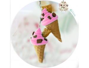 """Cercei handmade inghetata """"Strawberry ice-cream & chocolate chips"""""""