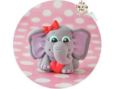 Brosa Elefantica cu fundita si inimioara rosie